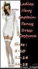 Ladies Navy Captain Sailor Fancy Dress Costume Size 8 10 12 14 16 18