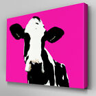 A018 Black White Cow Face Pink Canvas Art Ready to Hang Picture Print