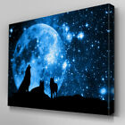 A209 Starry Night Wolf Pack Howling Canvas Art Ready to Hang Picture Print
