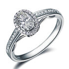 Oval Shape Diamond Engagement Ring 14k White Gold Art Deco Diamond Ring