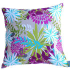 Cushion Cover beige - Floral Flower Abstract - pink, purple, green blue colours