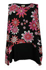 New Ladies Black Pink Floral Print Layered Vest Top Sizes 16 - 26