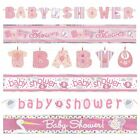 BABY SHOWER BANNERS - Pink Girl Decorations, Foil, Jointed & Clothesline Garland
