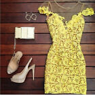Hot Lady Women's Sundress Lace Short Mini Party Yellow Evening Cocktail Dresses