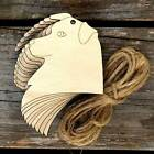10x Wooden Australian Shepard Dog Head Craft Shapes 3mm Plywood