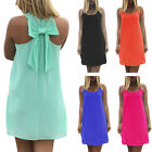 Sexy Women's Summer Chiffon Strapless Sleeveless Back Bow-Knot Short Dress
