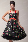 Ladies 40s Housewife Style Vintage Floral Swing Jive Rockabilly Short Prom Dress