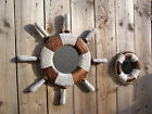 FairTrade Wooden Shabby Life Buoy Ring Ships Wheel Helm Nautical Bathroom Mirror