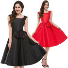 New Vintage 1950s 60s Rockabilly Red Black Bow Swing Party Evening Dress S - XL