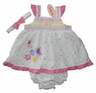 Baby Dress with Headband and frilly pants 6-12m and 12-18m Lovely Embroiderie