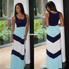 women navy & mint chevron Stripe colorblock tank maxi dress Skirts Beach ES9P