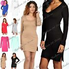 Womens Ladies Plunge Scoop V Neck Split Sides Tunic Bodycon Mini Dress Plus Size