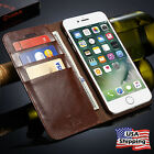 iPhone 7 & 7 Plus Genuine Leather Wallet Card Holder Flip Case Cover iPhone 6S
