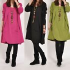 Women Lady Sexy Crew Neck Long Sleeve Jumper Sweater Dress Tops Knee length