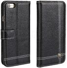 iPhone 6 6S Genuine Real Leather Skin Wallet Flip Folio Case Cover Card Slot New