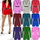 Ladies Long Sleeves Plunge V Neck Womens Gold Belted All In One Shorts Playsuit