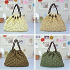 Women Chic Summer Bohemian Vacation Beach Straw Bucket Handbag Shoulder Bag Z
