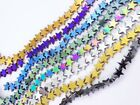 Natural Hematite Gemstone Flat Star Beads 16'' 6mm 8mm 10mm Black Silver Gold