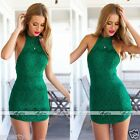 Womens Lady Lace Sleeveless Party Evening Cocktail Bodycon Short Mini Dress