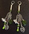 Earthy Silver Bullet Casings Periot Beads,Leafs,Bells,Celtic Charm Earrings