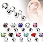 3 x 16G Gem Top Tragus Cartilage Helix Bar Ear Ring Piercing Studs 3mm 4mm 5mm