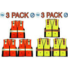 SAFETY VEST VISIBILITY REFLECTIVE STRIPS DELUXE ANSI CLASS 2 ORANGE/YELLOW 3PACK