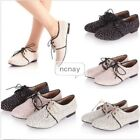 Womens Sweet Flat Casual Lace Up Creeper Floral Oxford Canves Office Boat Shoes