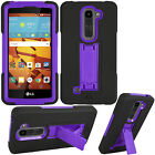 For LG Volt 2  LS751 Rugged Hybrid Cover Case with Kickstand