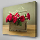 FL393 Bouquet of Roses In Box Canvas Wall Art Multi Panel Split Picture Print