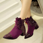 Womens Casual Chunky Heel Shoes Lace Up Pointed Toe Mid Heels Ankle Riding Boots