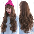 Lady Long Curly Wavy Brown/Black Hair Neat Bang Full Wig Cosplay Costume Party