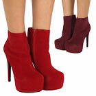 Ladies Stiletto Shoe Heeled Womens Faux Suede High Heel Platform Zip Ankle Boots