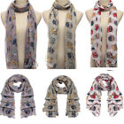 Owl Scarf Print Bird Animal Shawl Wraps Women Neck Stole Pashmina  Winter Warm