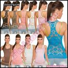 Ladies Top Sexy Womens Summer Casual Crochet Tank Vest Top ONE SIZE 6,8,10 UK