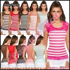 Ladies Vest Top Sexy Summer Womens Striped Lace Polo Shirt ONE SIZE 8,10,12 UK