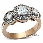 WOMEN'S ROUND CUT HALO CZ STAINLESS STEEL ROSE GOLD IP ENGAGEMENT RING SIZE 5-10