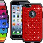 Shock Proof Dual Layer Bling Diamond Case For iPhone 6s,6, 5SE, 4S,Galaxy S6,S5