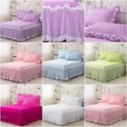 100%Cotton Pleated Valance Solid Bed Skirt Set King/Queen/Single Size 6 Designs