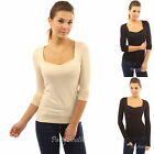 PattyBoutik Square Neck Long Sleeve Stretch Pullover Tee Blouse Top