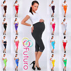 Maternity 3/4 Length Leggings with Lace Cropped Pants High Waist Sizes 8-22 LCKK