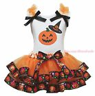 Halloween White Top Witch Hat Pumpkin Satin Trim Skirt Girl Outfit Set NB-8Year