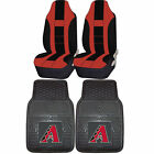 MLB Arizona DiamondBacks Rubber Floor Mat High Back Seat Cover Universal Combo
