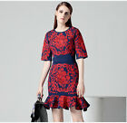 Top Quality Fall Red Embroidered Slim Mermaid Dress Women's Dress