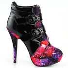 Buckles Cosmic Galaxy Starry Night Sky High heels Stiletto Platform Ankle Boots