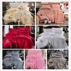 New Soft Solid Queen/King Size Bed Quilt/Doona/Duvet Cover Set Satin Drill Linen