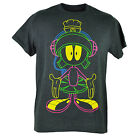 Looney Tunes Marvin The Martian Neon Outline Animation Grey Tshirt Tee