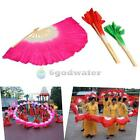 Colorful Handmade Silk Veil Folk Art Chinese Belly Dance Dancing Bamboo Fans New