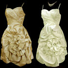 New Pleated Shinning Satin 3D Flowers Straps Prom Formal Cocktail Party Dress