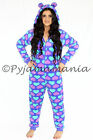 Pyjamas Ladies Fleece Winter Hooded Onesies Pjs Purple Hearts Sz 8 10 12 14 16
