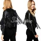 2015 New Fashion Punk PU leather Fringed Tassel Leather Back Jacket Coat Blazers